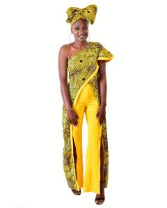 African Print Wrap Around Top With Side Slit Pant