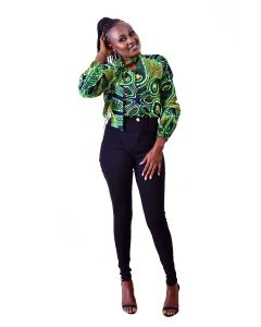 African  Print Long Sleeve Top With a Neck Tie