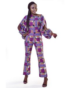 African Print Long Sleeve Jumpsuit With Sleeve Cutouts