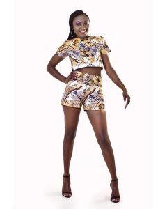 African Print Short Sleeve Crop  Top and Shorts  Set