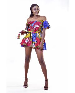 African Print Off the Shoulder Mini Dress With Waist Tie