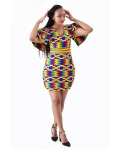 African Print Mini Party Dress with Capped Sleeves
