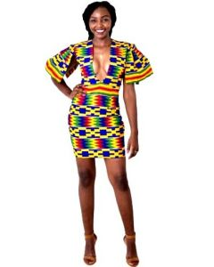 African Print Plunging Neckline Mini Dress With Capped Sleeves
