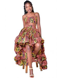 African Print Two Piece High-Low Dress