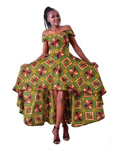 African Print High-Low Off the Shoulder Maxi Dress