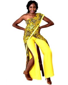Afrikan Print Wrap Jump-suit With Side Slits